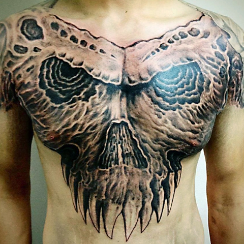 HP Nguyen tattoo Art of Ink skull chest