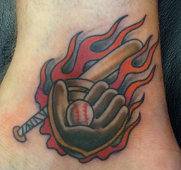 Dave Woodard tattoo baseball old school