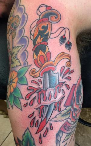 Dave Woodard tattoo old school dagger