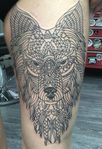 Chip Baskin tattoo wolf ornamental