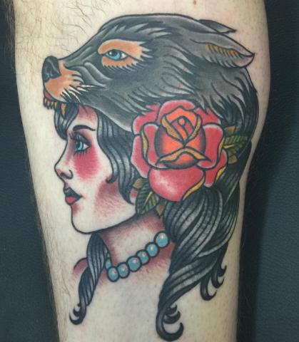 Chip Baskin tattoo girl wolf old school