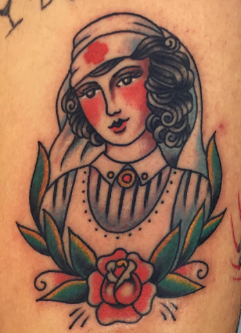 Andy Perez tattoo old school nurse