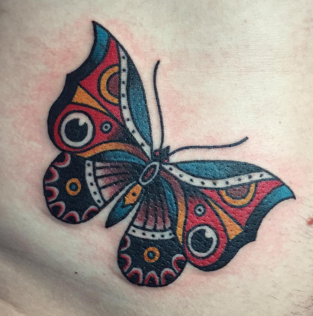 Andy Perez tattoo butterfly old school