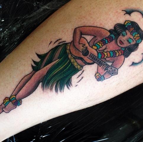 Buffy Ino Kua tattoo hawaii girl old school