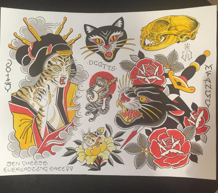 Ben Cheese Ltd Tattoo flash drawing