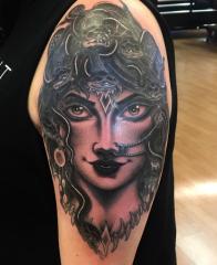 Dave Regan tattoo medusa black grey