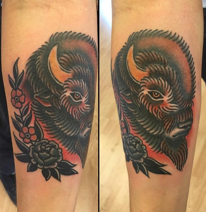 Dave Regan tattoo bison