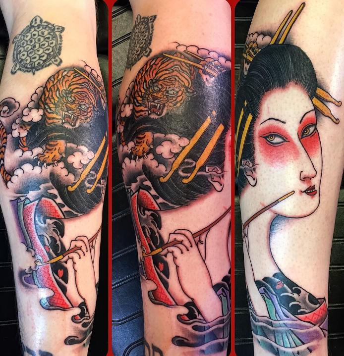 Dave Regan tattoo oriental japanese geisha