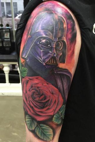 Freja Phoenix tattoo Art of Ink darth vader star wars color realism rose