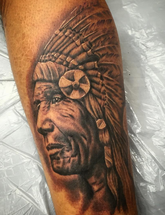 Charly Phoenix tattoo Art of Ink chief indian realism