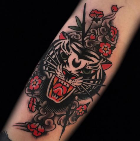 Austin Maples Idle Hand Tattoo old school tiger