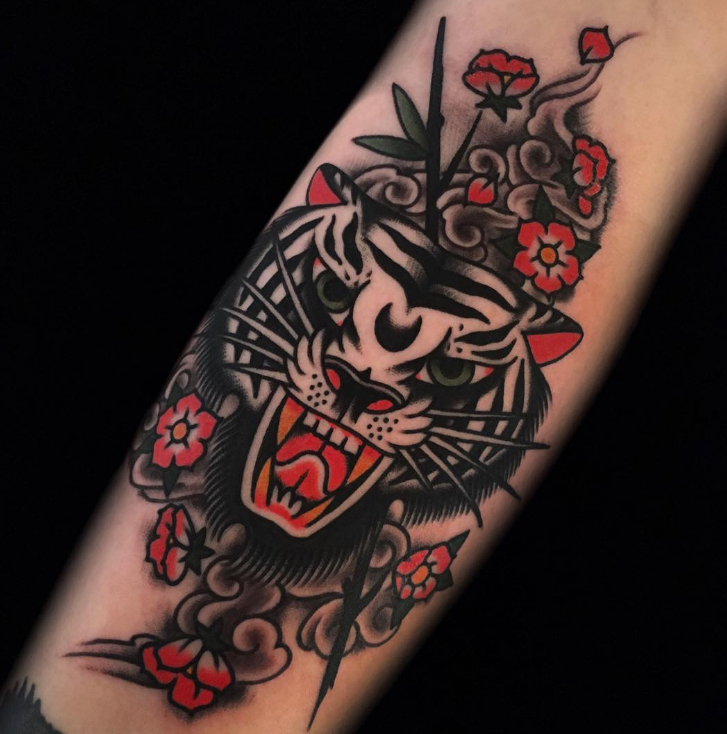 Austin Maples Idle Hand Tattoo old school tiger