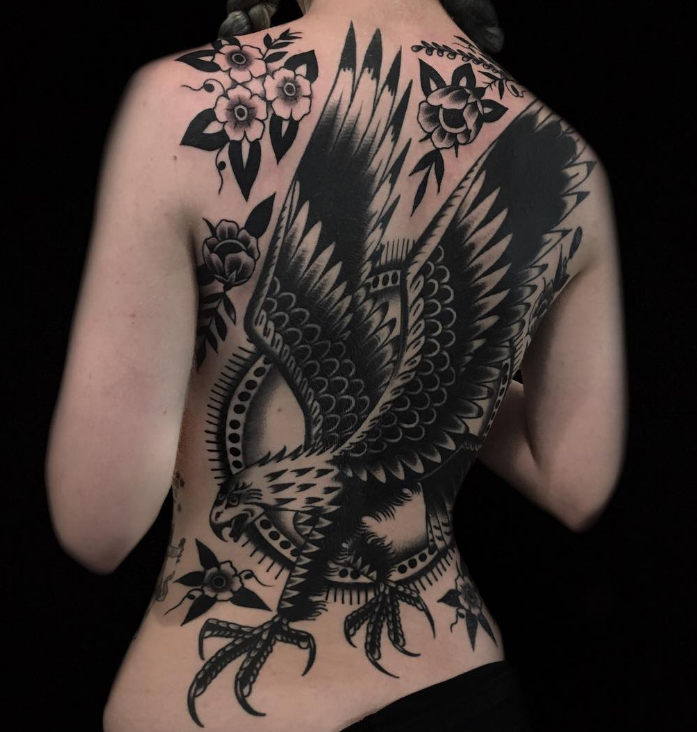 Austin Maples Idle Hand Tattoo eagle old school black back