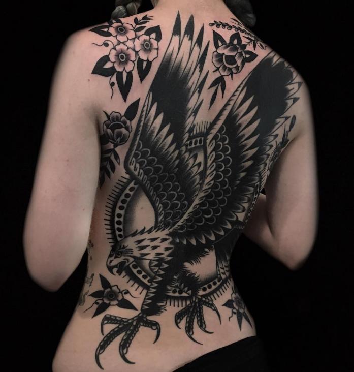 Austin Maples Idle Hand Tattoo eagle old school black back