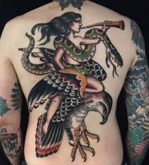 Holly Ellis Idle Hand Tattoo old school eagle snake