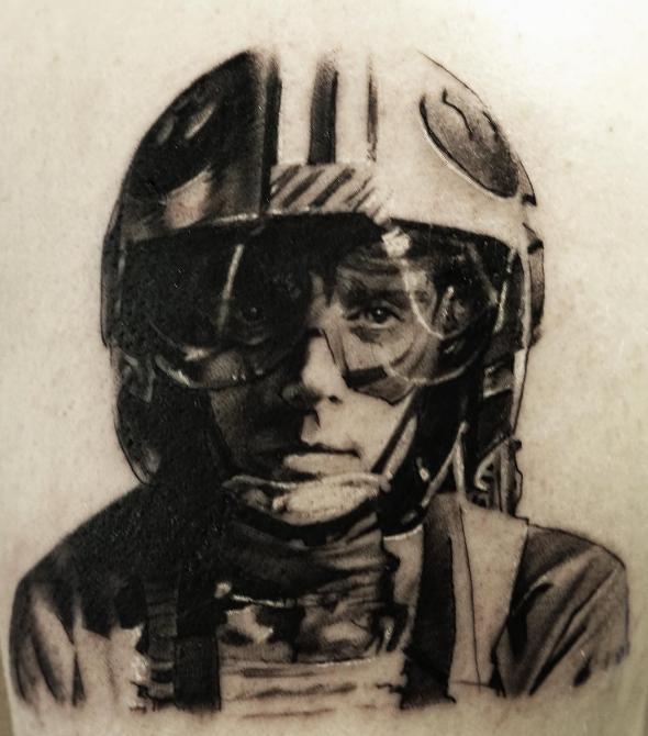 Pedro Leon Studio 73 Tattoo black n grey realism star wars rebels x-wing skywalker