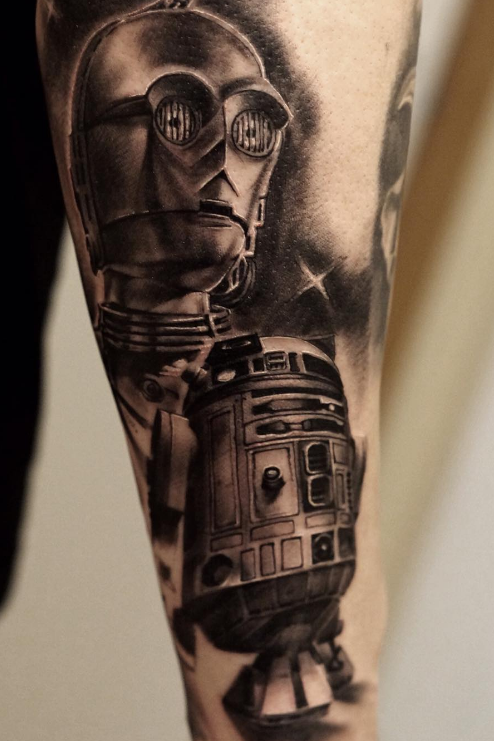 Pedro Leon Studio 73 Tattoo black n grey realism star wars r2d2 c3po
